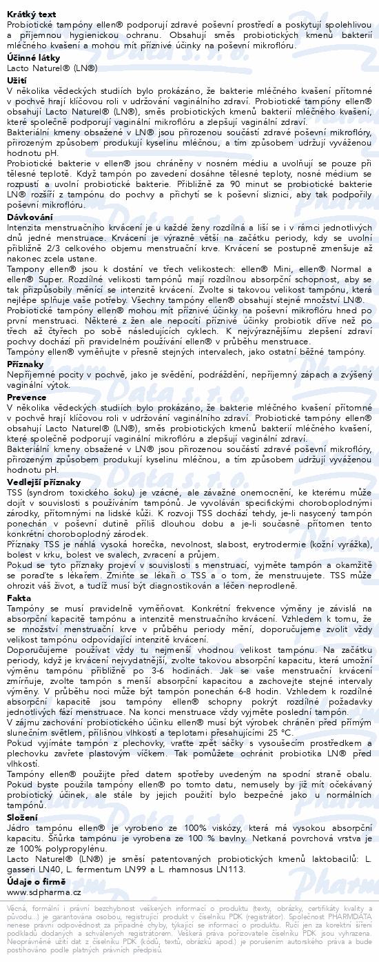 Informace o produktu Probiotické tampóny ellen - Normal 12 ks
