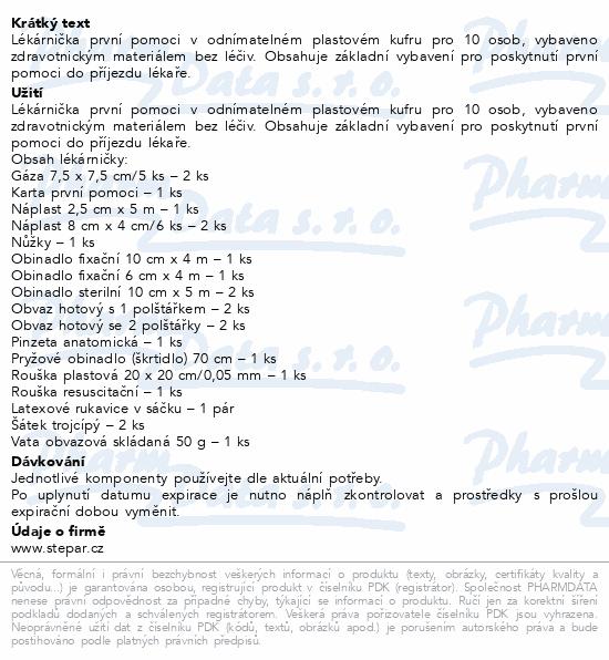 Informace o produktu Lékárnička - kufřík odnimatelný s náplní ZM 10osob