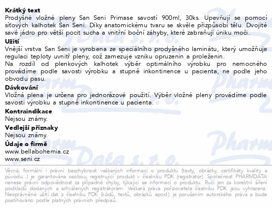 Informace o produktu Seni San Prima 30 ks inkont. vlož. pleny