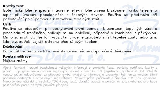 Informace o produktu Izotermická fólie zlatostříbr. 140x200cm Steriwund