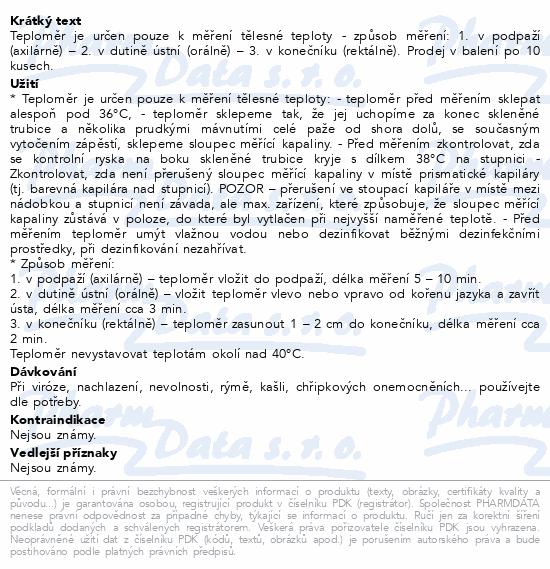 Informace o produktu Teploměr lékařský skleněný EXATHERM