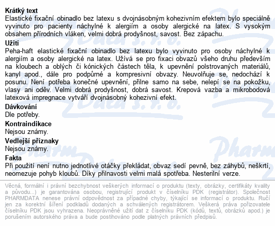 Informace o produktu Obin. fixační kohes.PEHA-HAFT Latex free 6cmx4m