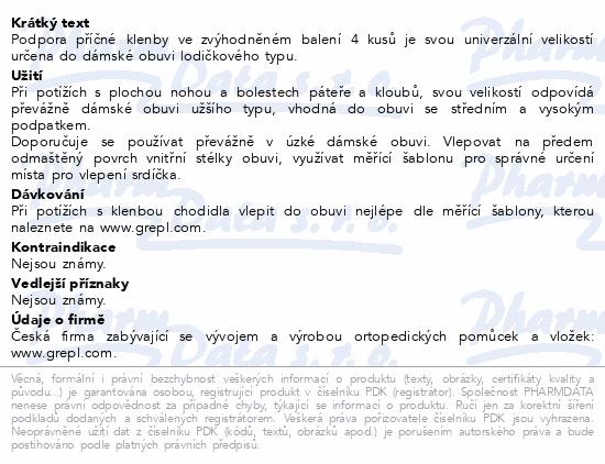 Informace o produktu DR.GREPL Podpora příčné klenby univerzální 4ks