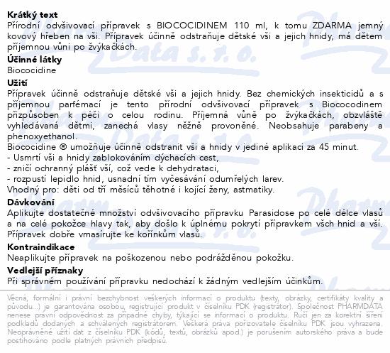 Informace o produktu Parasidose Biococidin 45min 110ml + hřeben