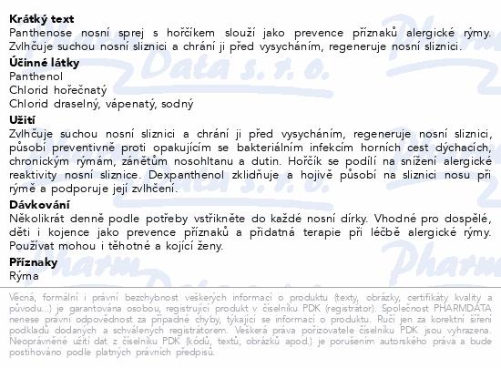 Informace o produktu Panthenose nosní sprej s hořčíkem 20ml Dr.Müller