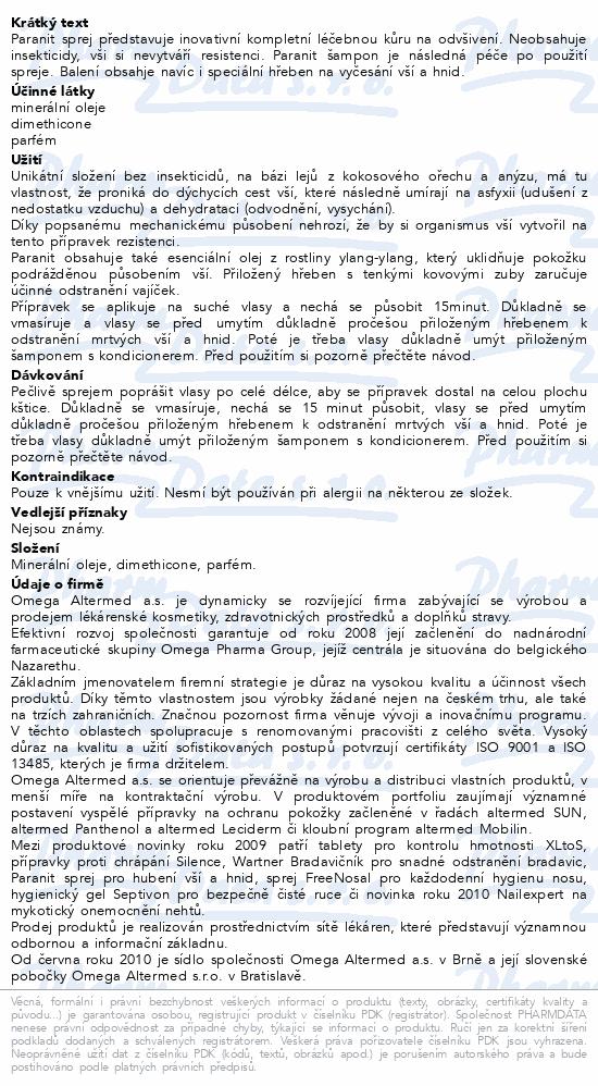 Informace o produktu Paranit sprej 100ml+ hřeben + šampon 100ml zdarma