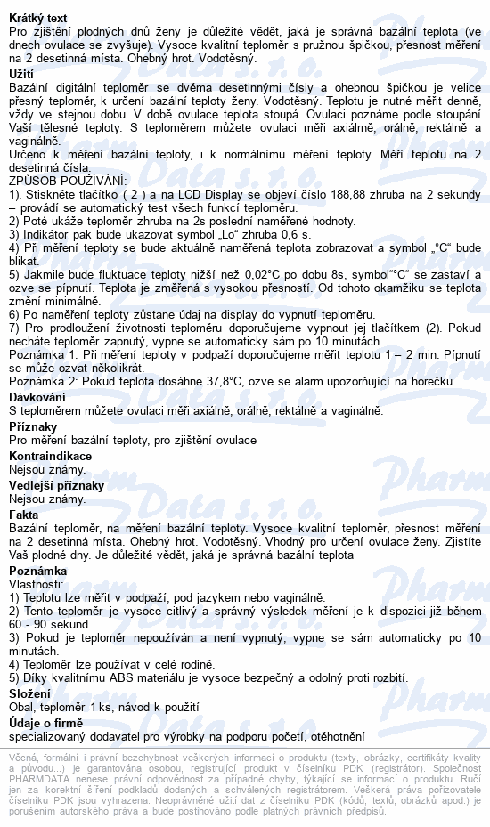 Informace o produktu ADIEL Bazální teploměr MT-B231F