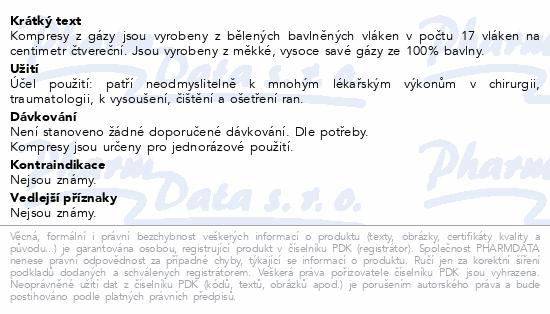 Informace o produktu Gáza kompr.nester.10x10cm/100ks 8vrst. Steriwund