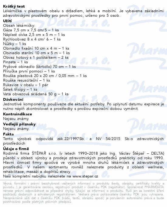 Informace o produktu Lékárnička - plast. kufřík s náplní 5 osob-ZM 5