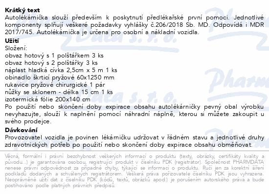 Informace o produktu Autolékárnička plastová 341/2014 DRUŽSTVO LÉKÁREN