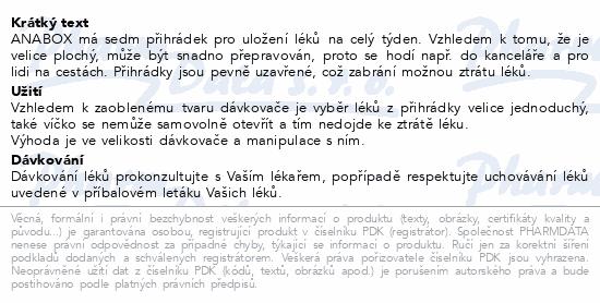 Informace o produktu Dávkovač na léky ANABOX 1x7