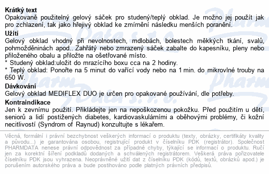 Informace o produktu MEDIFLEX-gelový studený a teplý obklad 11x26cm
