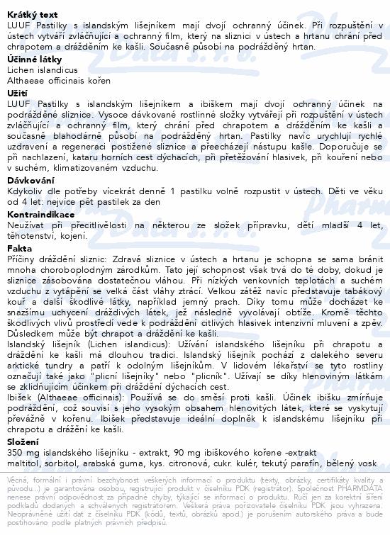 Informace o produktu LUUF pastilky při kašli a nachlaz.s isl.lišej.20ks