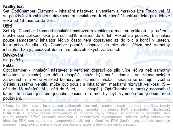 Informace o produktu Optichamber Diamond set inhalační nástavec+Maska M