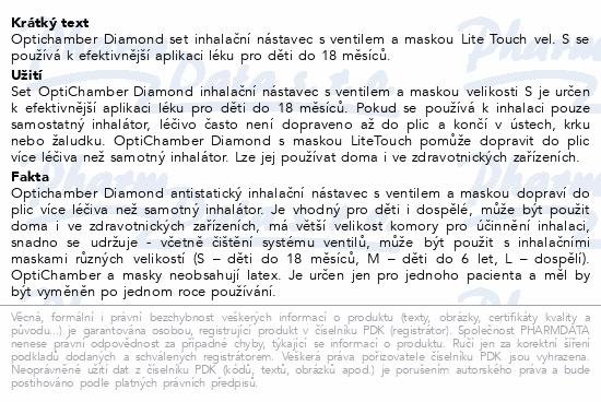 Informace o produktu Optichamber Diamond set inhalační nástavec+Maska S