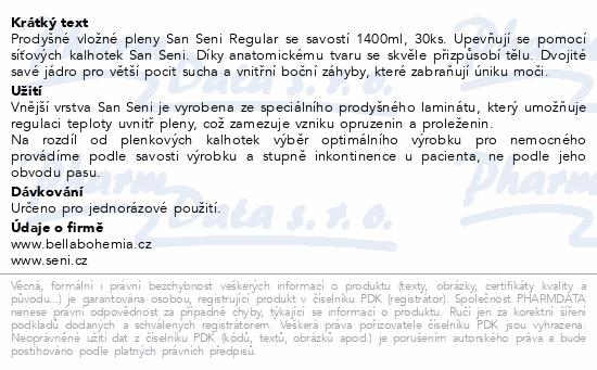 Informace o produktu Seni San Regular inkont. vložná plena 30 ks
