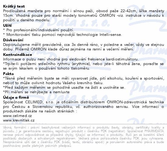 Informace o produktu Manžeta CW prodloužená obv.paže 22-42cm pro OMRON