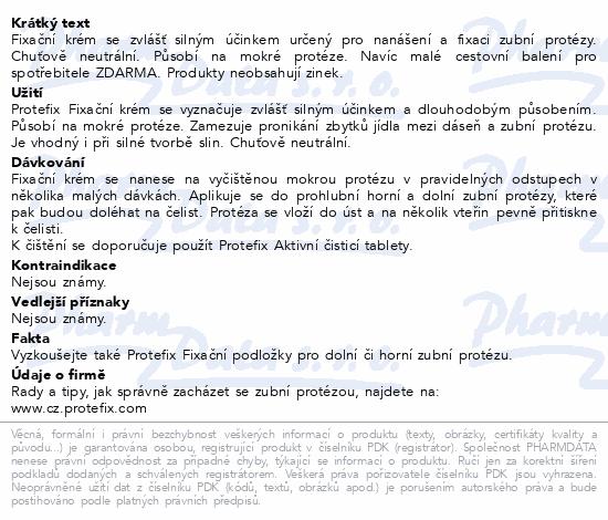 Informace o produktu Protefix Fixační krém 47g + 4ml