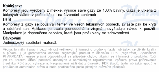 Informace o produktu Gáza hydr.kompr.ster.10x20cm/2ks Steriwund