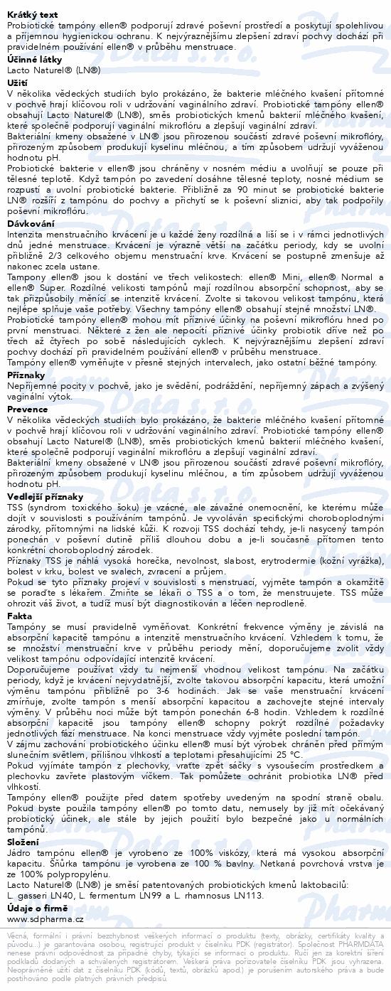 Informace o produktu Probiotické tampóny ellen - ECO Normal 22ks