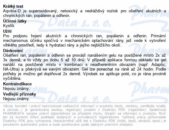 Informace o produktu Aqvitox D gel 250ml