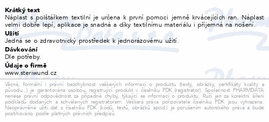 Informace o produktu Náplast s polštářkem text.8x4cm 3ks nest.Steriwund