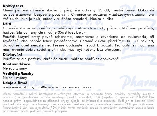 Informace o produktu Quies Pěnové chrániče sluchu (3páry)