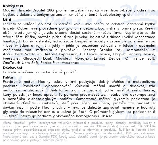 Informace o produktu Lanceta Droplet 28G 100ks
