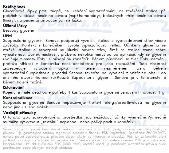 Informace o produktu SUPP.GLYCERINI SANOVA Glycerín.čípky Děti 1g 5ks