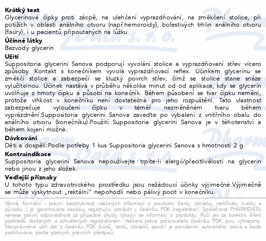 Informace o produktu SUPP.GLYCERINI SANOVA Glycer.čípky Classic 2g 10ks