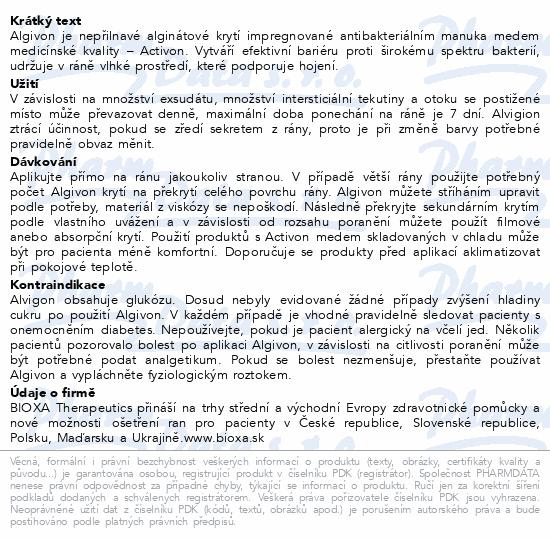 Informace o produktu Algivon 10x10cm krytí alginát.antimikrob. 5ks