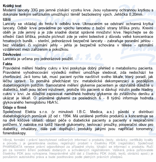Informace o produktu Lancety Wellion 100ks - 33G