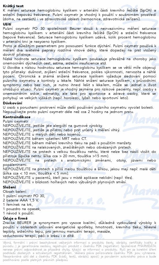 Informace o produktu Pulzní oxymetr Beurer PO 30