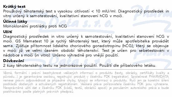 Informace o produktu GS Mamatest 10 Těhotenský test 2ks ČR/SK
