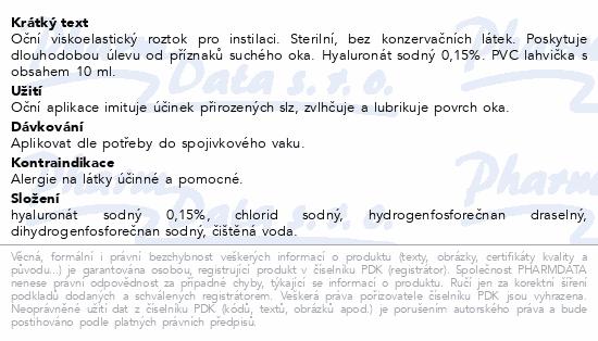Informace o produktu Ocutears viskoelastický roztok 10ml
