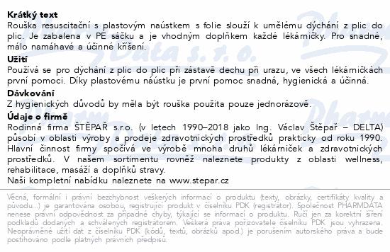 Informace o produktu Rouška z plic do plic resuscitační