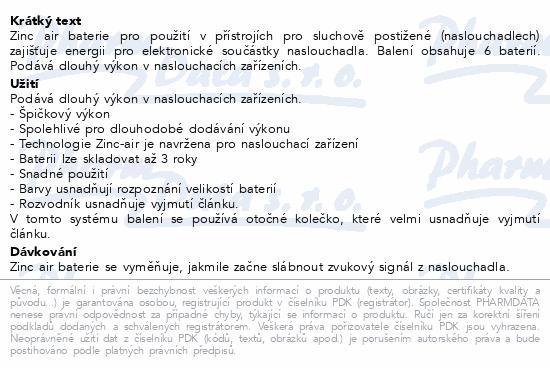Informace o produktu Baterie do naslouchadel PHILIPS ZA13B6A/00 6ks