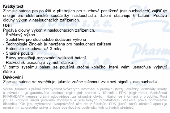 Informace o produktu Baterie do naslouchadel PHILIPS ZA10B6A/00 6ks