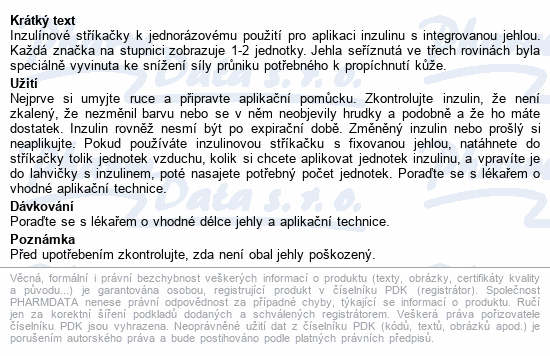Informace o produktu Inzulin.stříkačky BD 0.5ml 30G x 8mm U-100 100ks