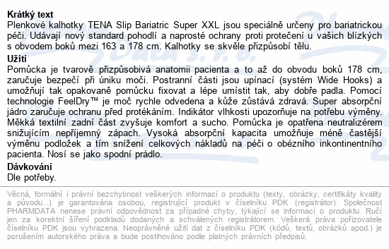 Informace o produktu TENA Slip Bariatric Super XXL ink.kalh.32ks 61490