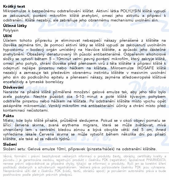 Informace o produktu IXOsafe set pro odstranění klíštěte