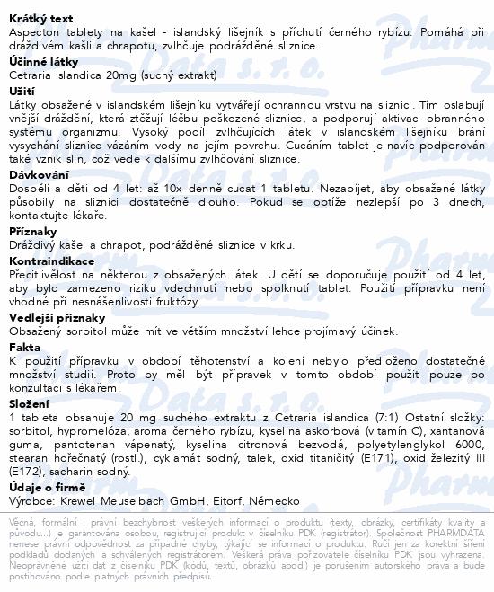 Informace o produktu Aspecton tablety na kašel černý rybíz 60ks
