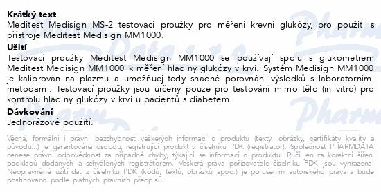 Informace o produktu Proužky Testovací Meditest Medisign MS-2 50ks