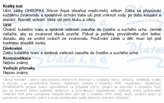 Informace o produktu Chránič sluchu OHROPAX Silicon Aqua 6ks