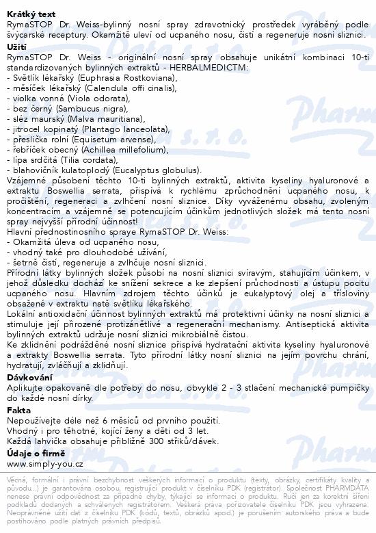 Informace o produktu RymaSTOP Dr. Weiss-bylinný nosní spray 30ml