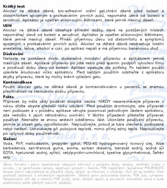 Informace o produktu Aloclair na dětské dásně gel 10ml