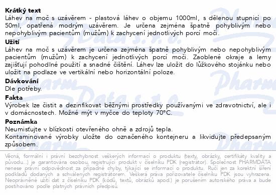 Informace o produktu Láhev na moč s uzávěrem v PE sáčku