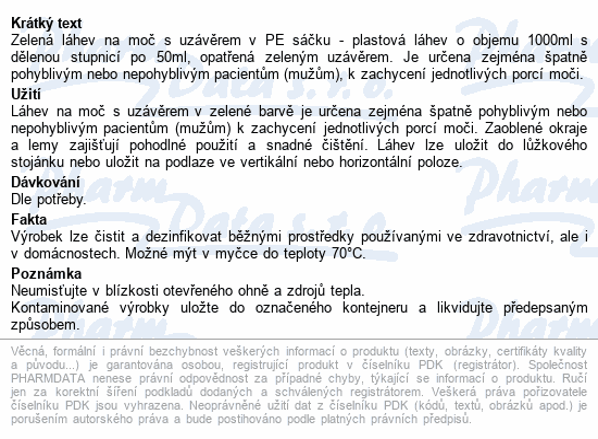 Informace o produktu Láhev na moč s uzávěrem v PE sáčku zelená