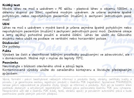 Informace o produktu Láhev na moč s uzávěrem v PE sáčku modrá