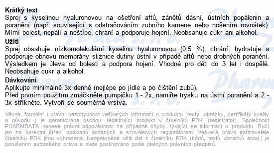 Informace o produktu URGO Afty a drobná poranění dut.úst.sprej 15ml